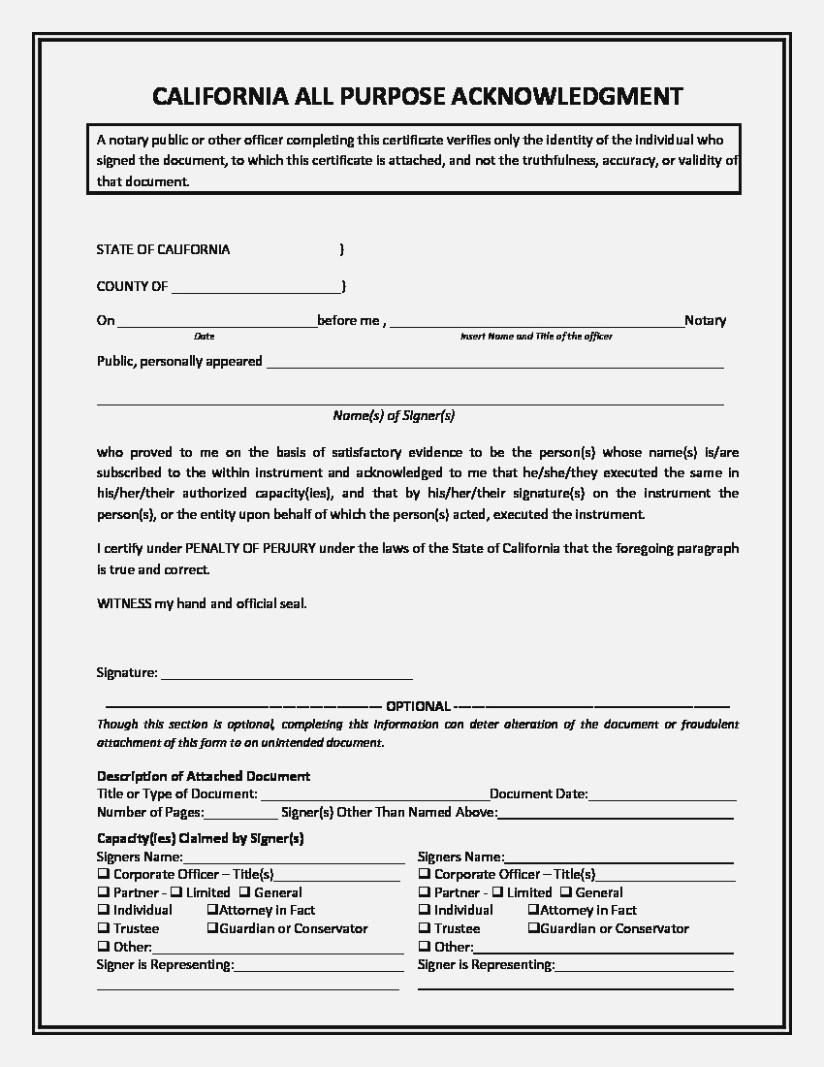 California Notary Acknowledgment Language
