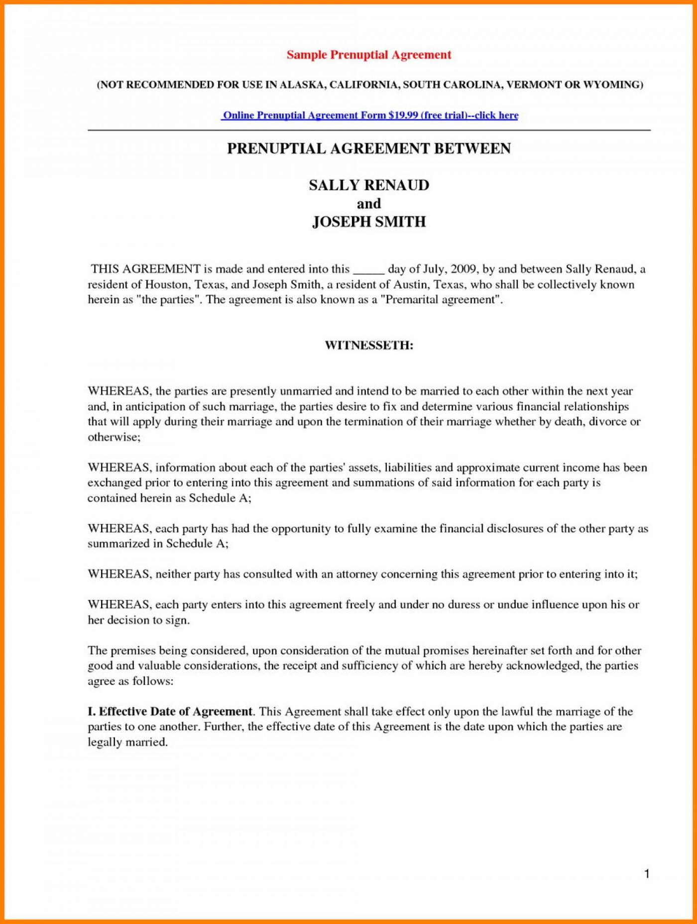 California Prenuptial Agreement Form Download Free