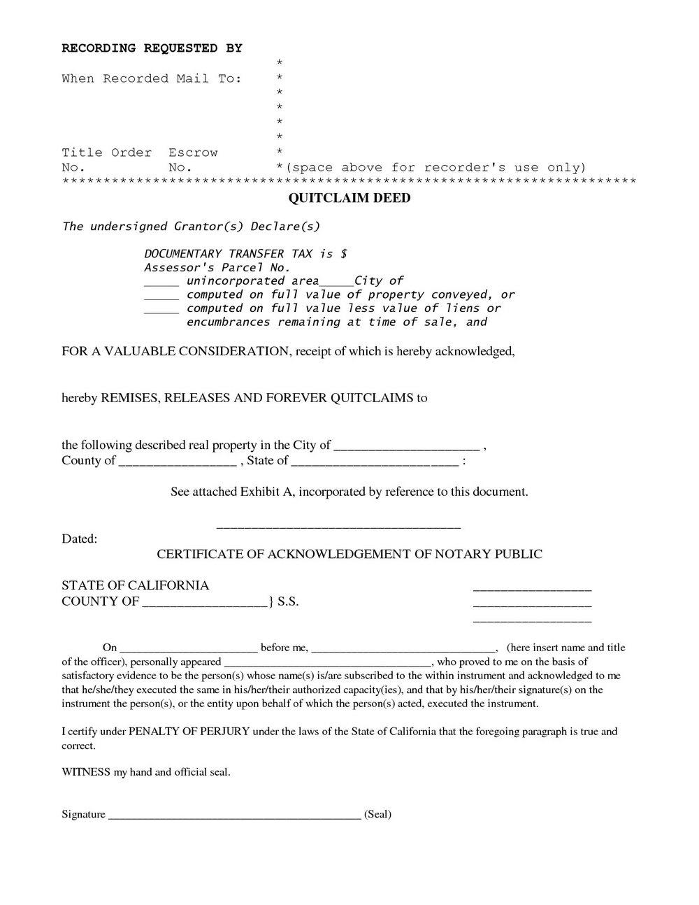 California Quit Claim Deed Form Sample