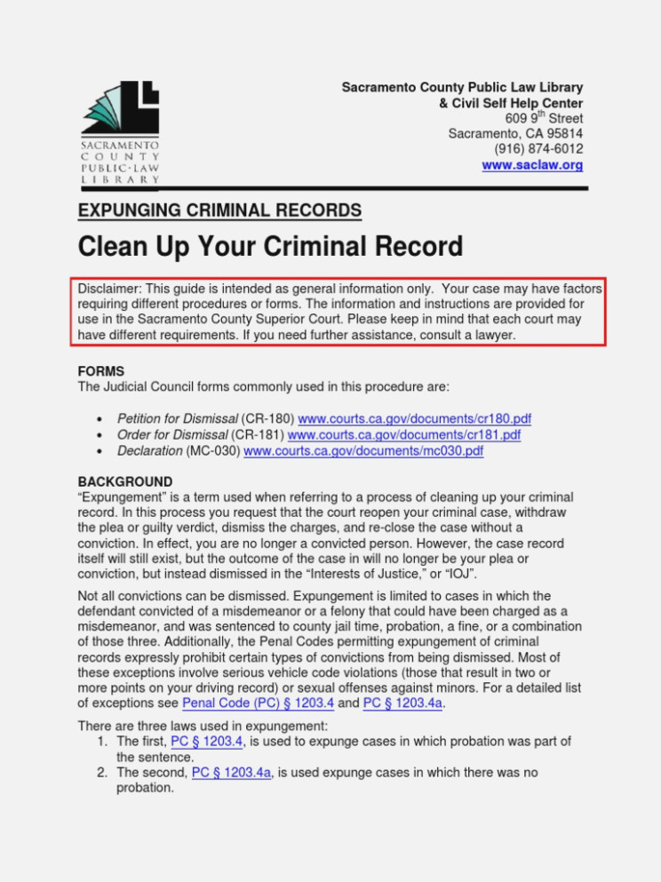 California Record Expungement Forms