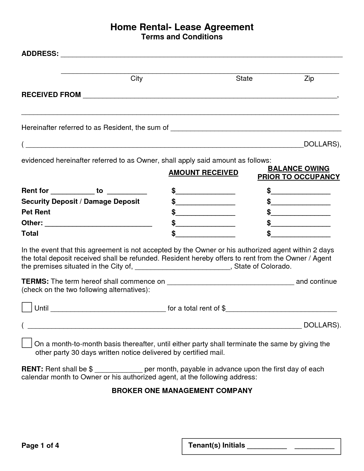 California Rental Lease Agreement Form Pdf
