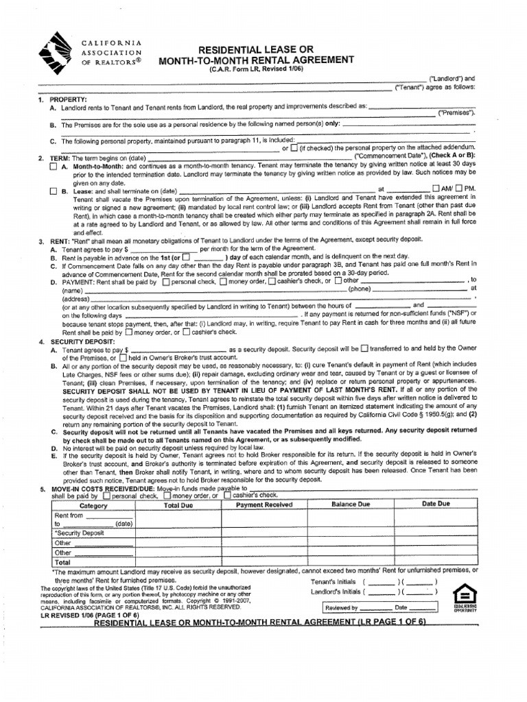California Association Of Realtors Lease Agreement C A R Form Lr Residential Lease Or Month To Month Rental Agreement0