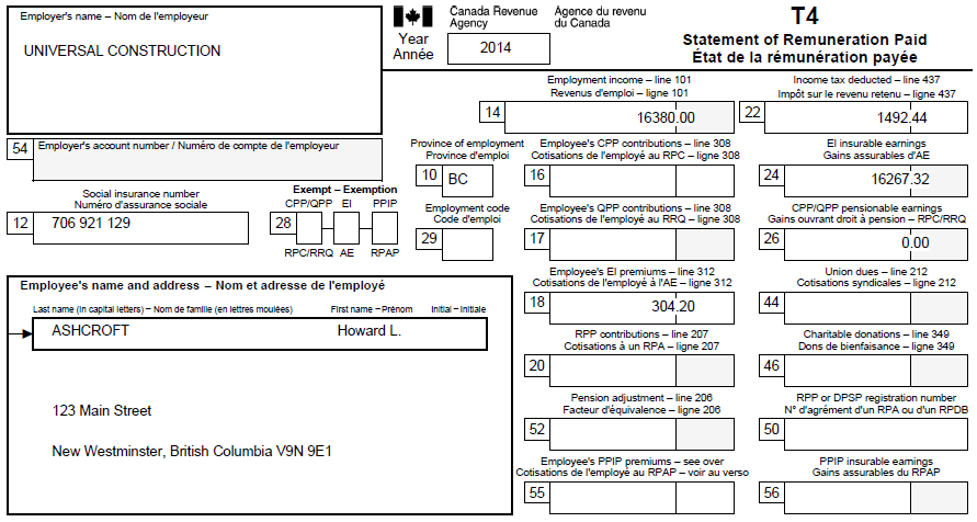 Canada T4 Fillable Forms