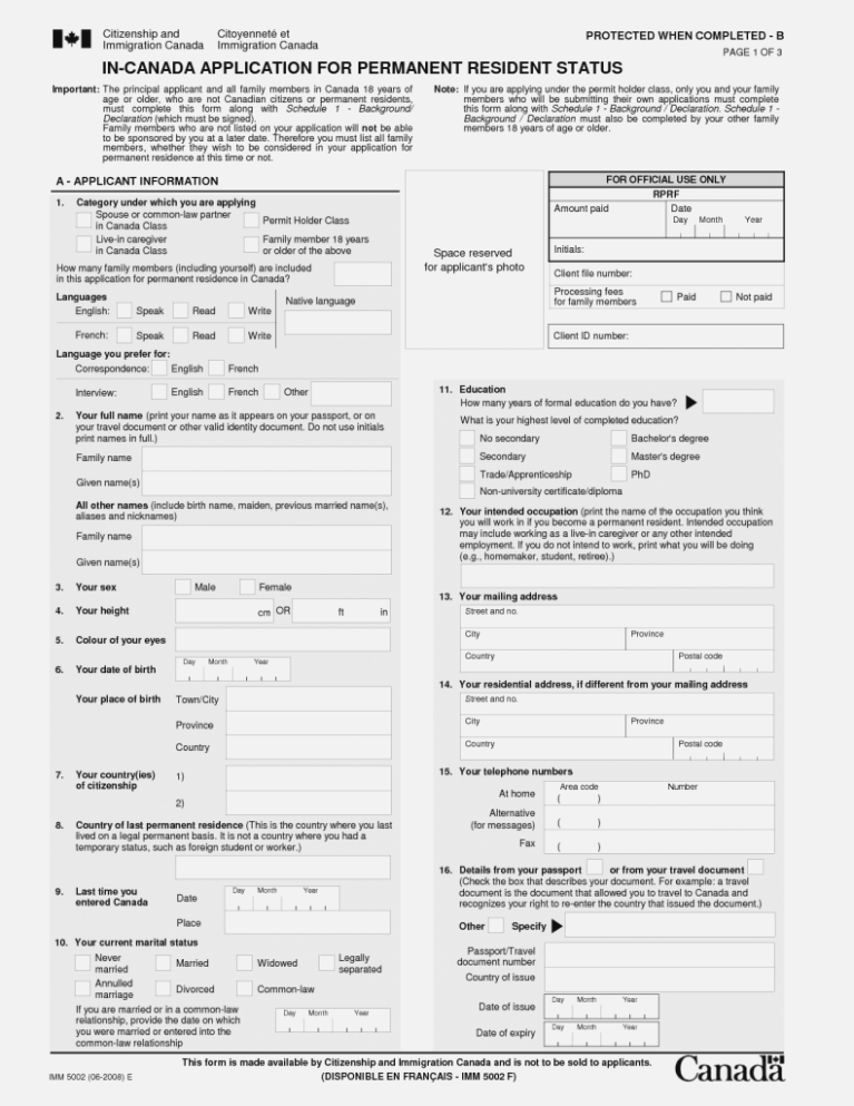 Canadian Immigration Visa Application Form Pdf