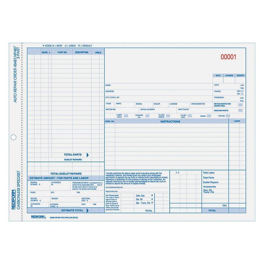 Carbonless Repair Order Forms