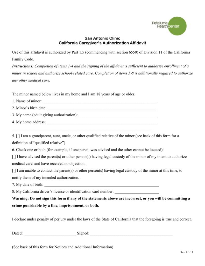 Caregiver Application Form California