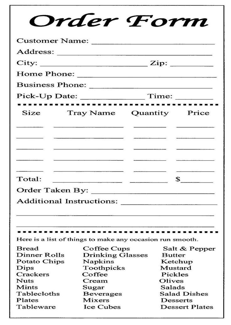 Catering Form Template Free