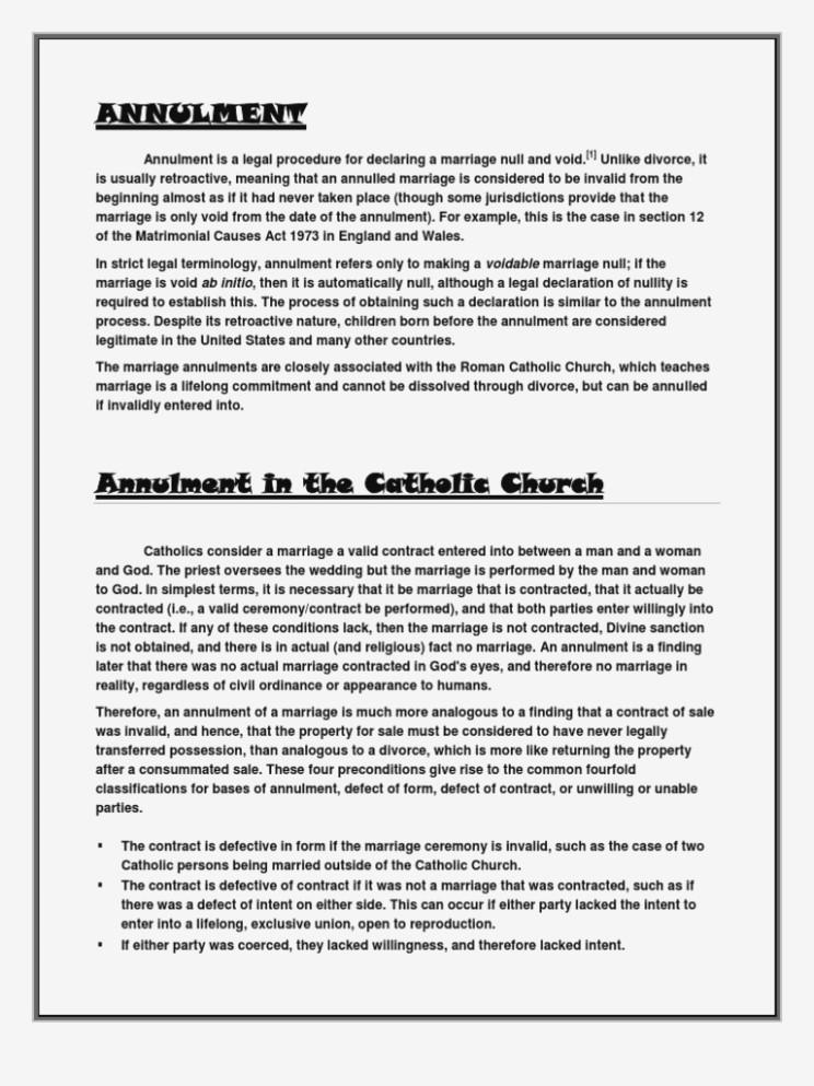 Catholic Marriage Annulment Application Form