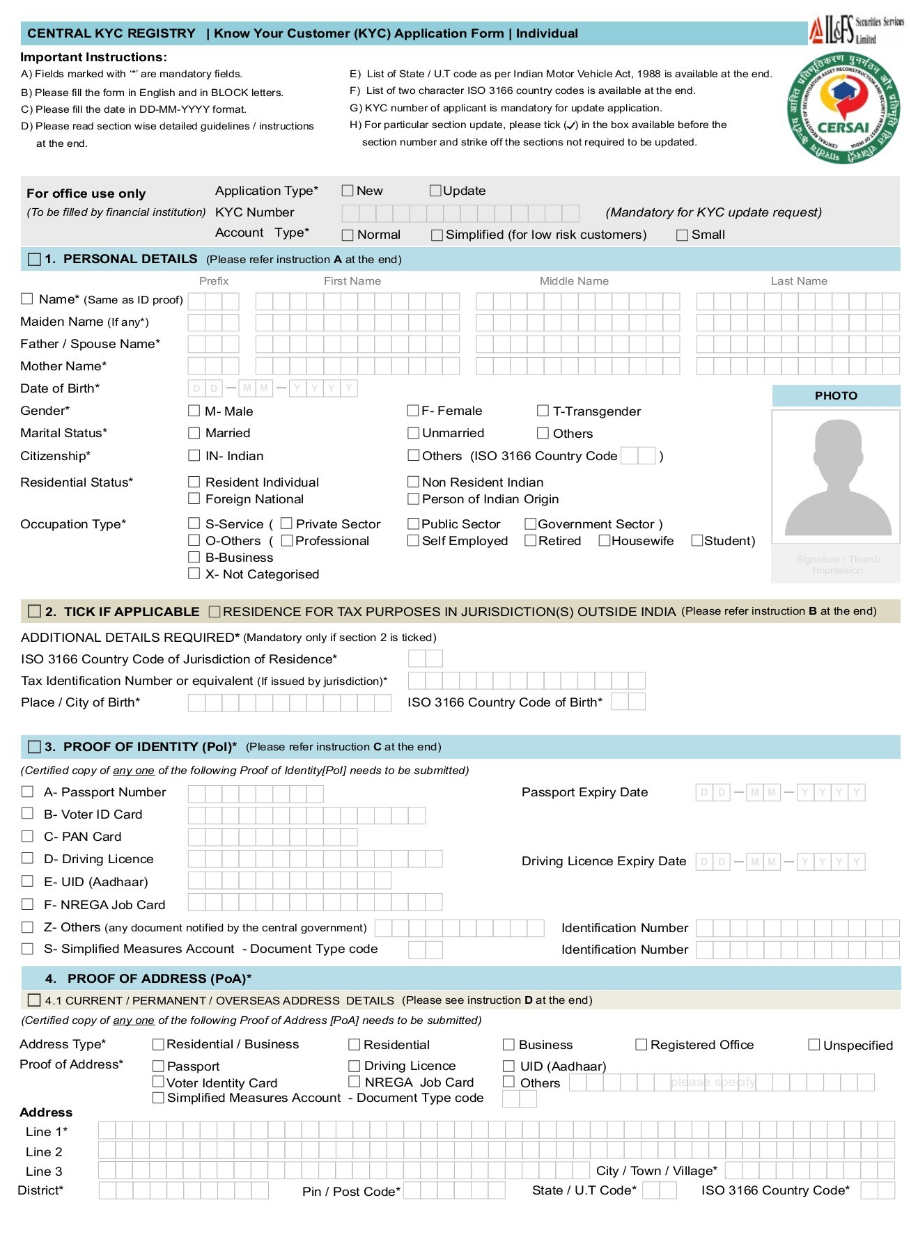Central Kyc Registry Know Your Customer Application Form Individual