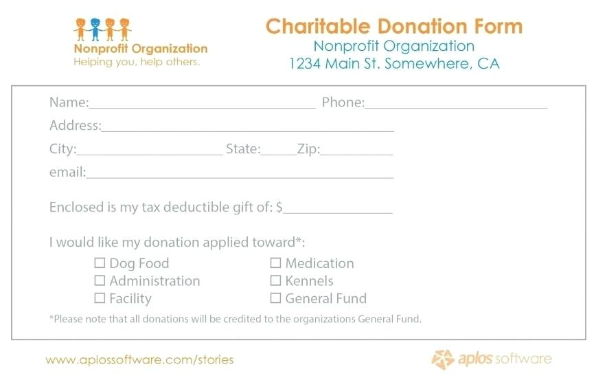 Charity Donation Form Letter