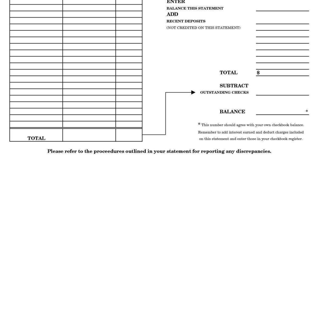Chase Bank Account Reconciliation Form