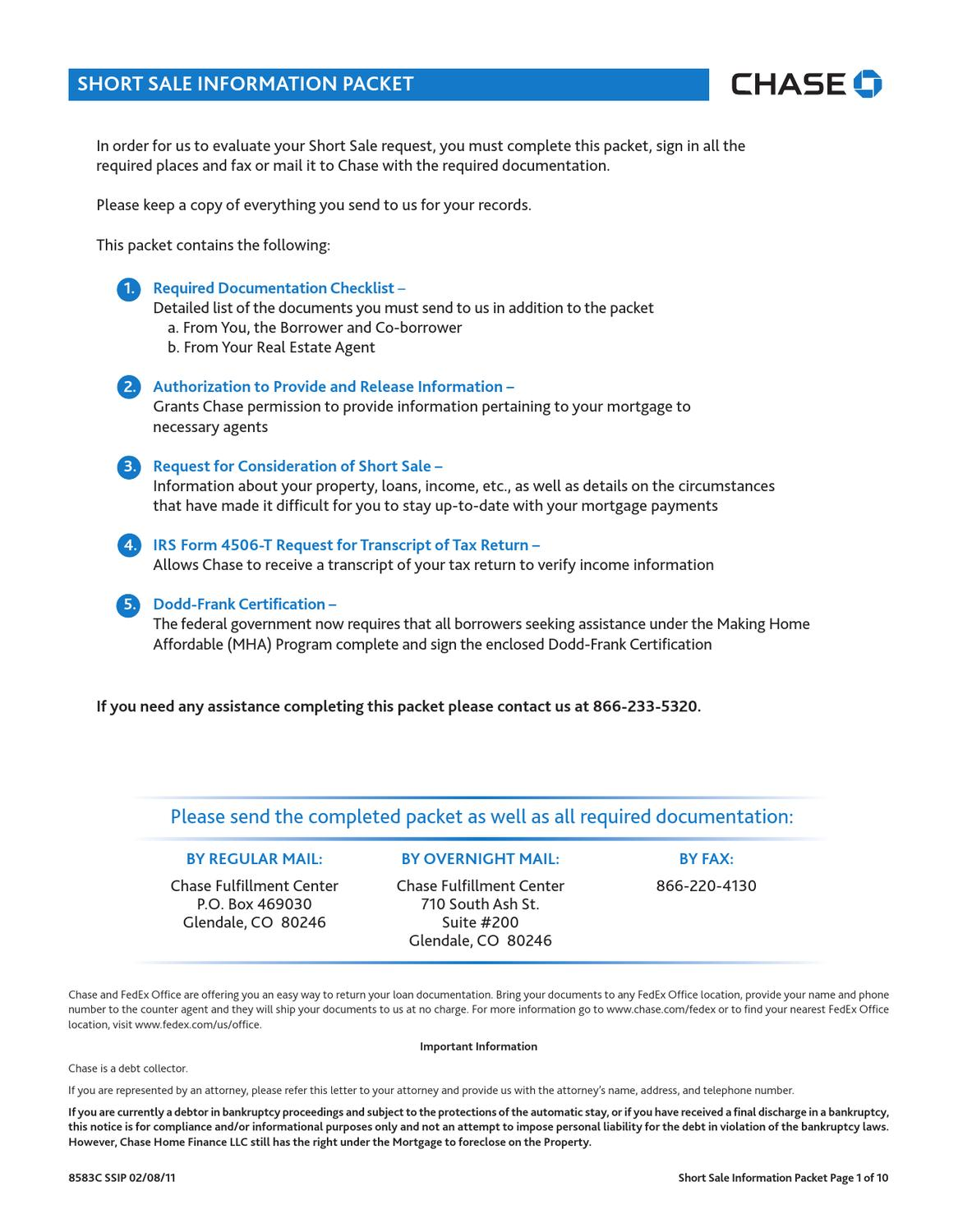 Chase Mortgage Form 4506 T