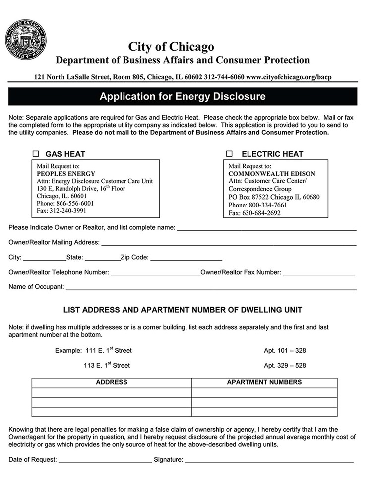 Chicago Apartment Lease Form
