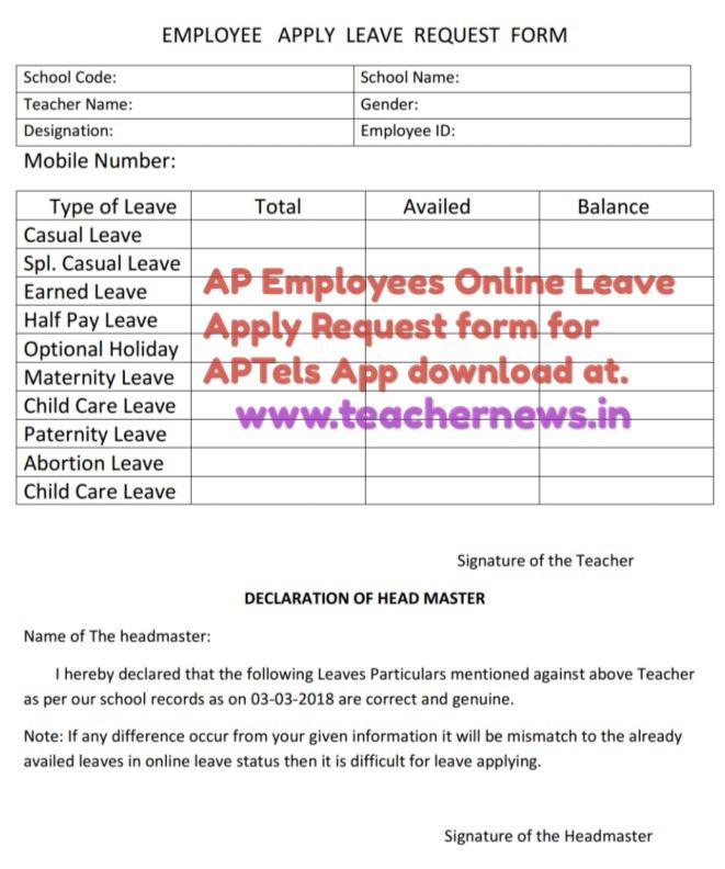 Child Care Leave Application Form Telangana