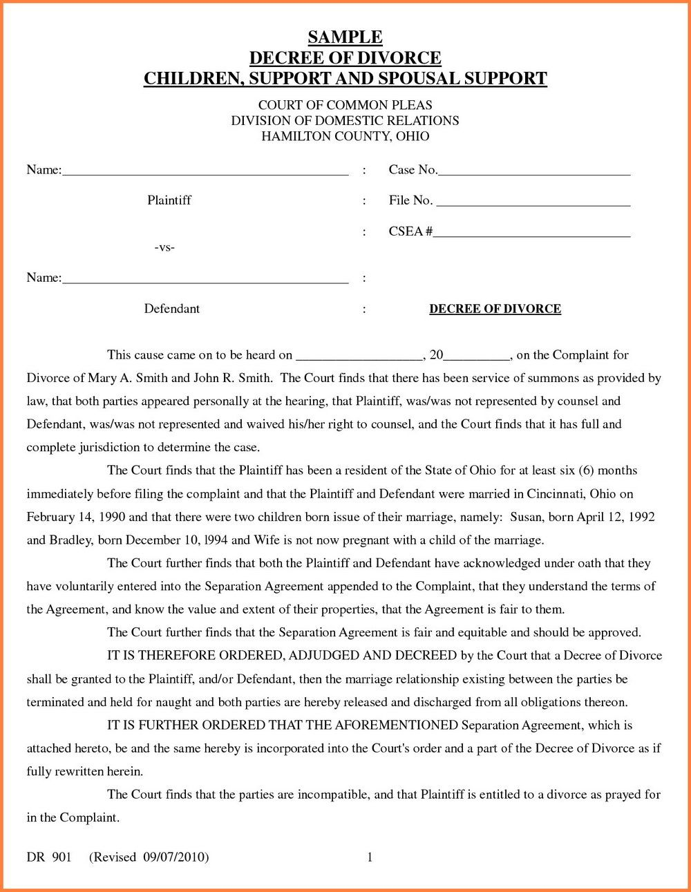 Child Custody Forms Hamilton County Ohio