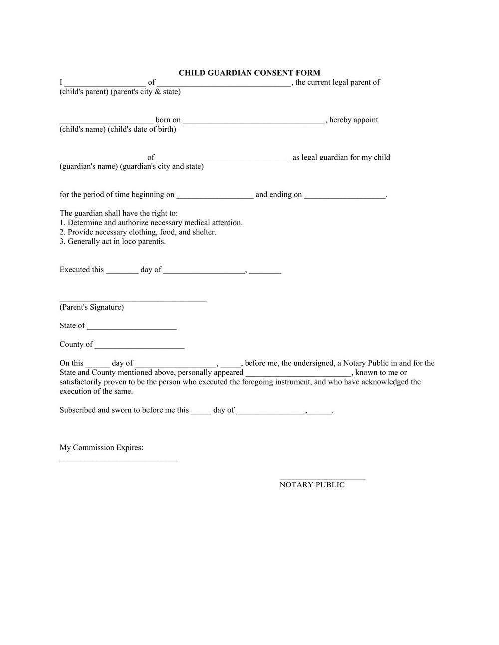 Child Guardianship Forms In Case Of Death