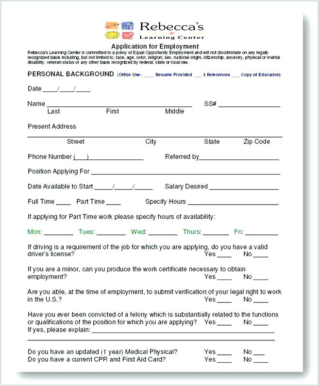 Childcare Registration Form Template