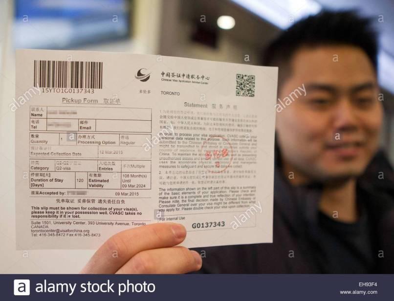 China Tourist Visa Application Toronto