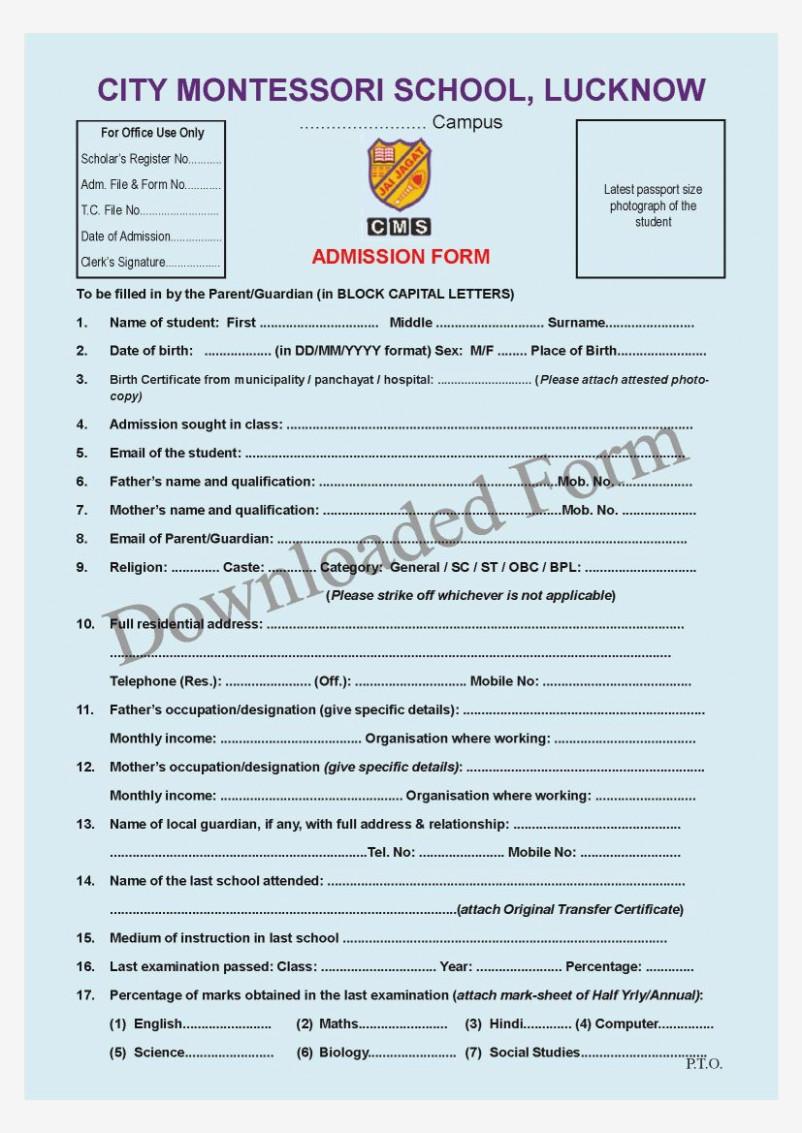 City Montessori School Application Form