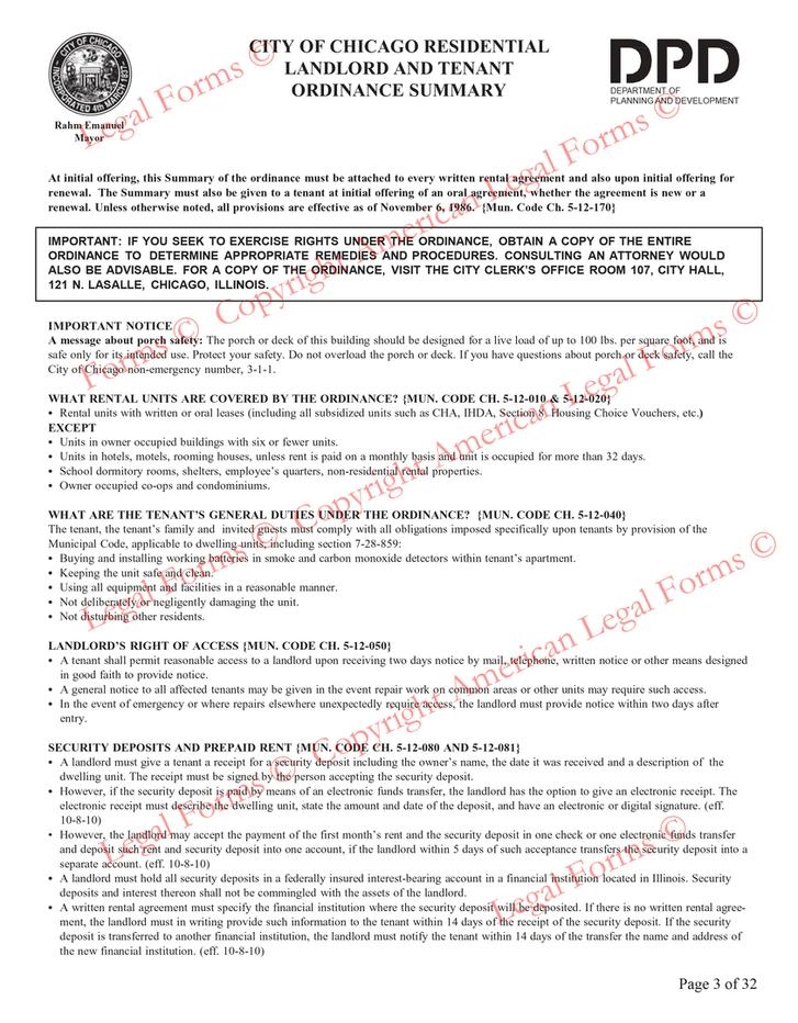 City Of Chicago Residential Lease Form