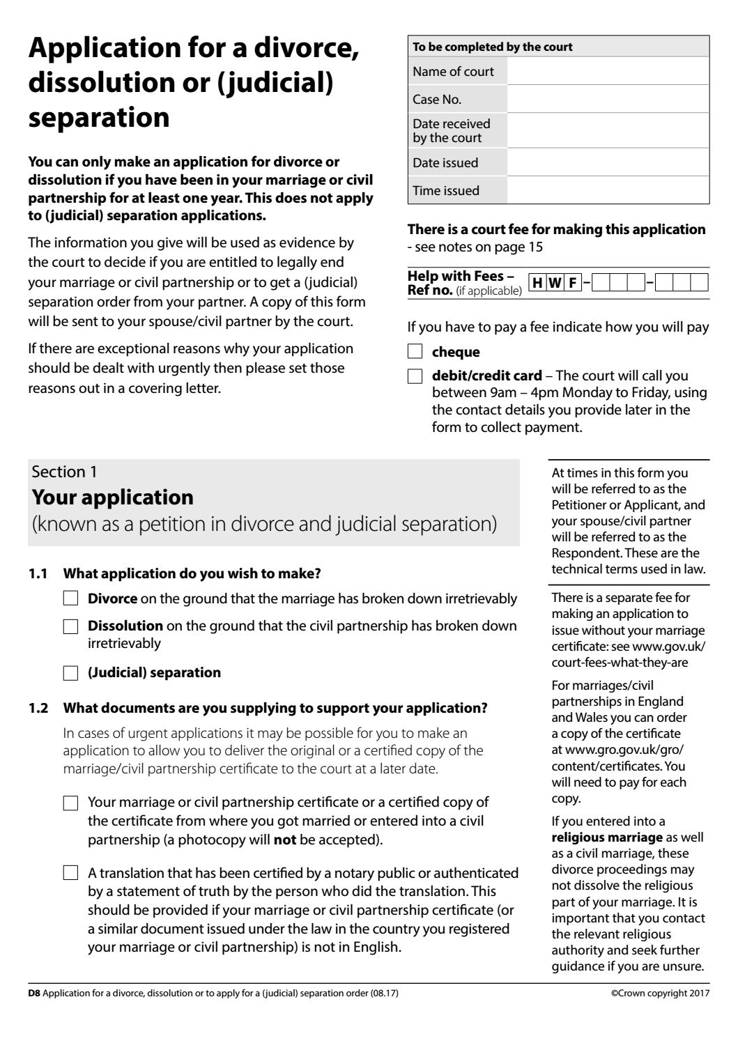 Civil Partnership Dissolution Application Form