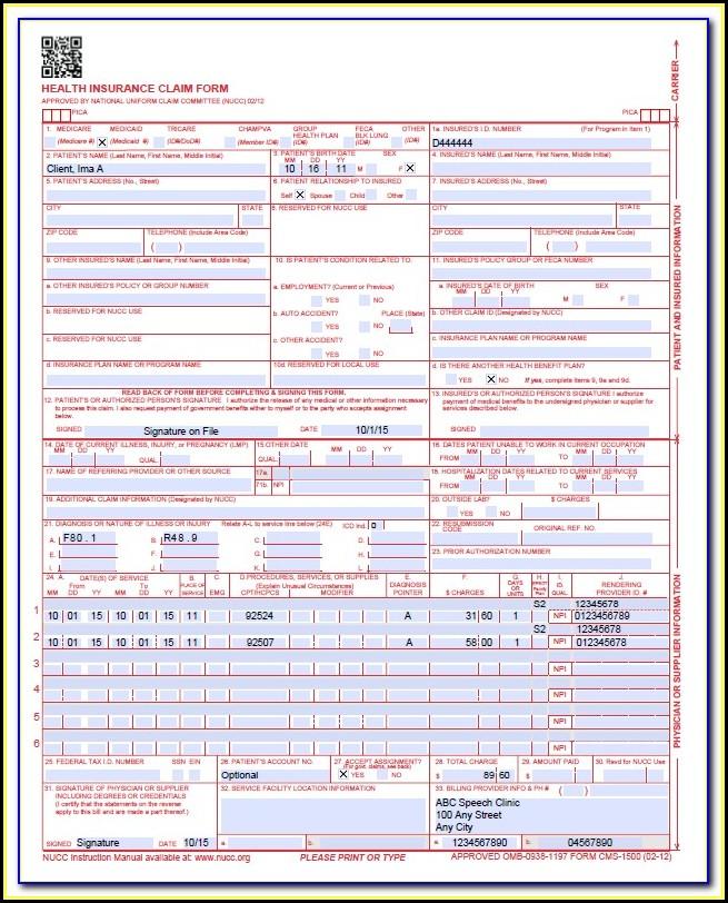 Cms 1500 Claim Form Instructions