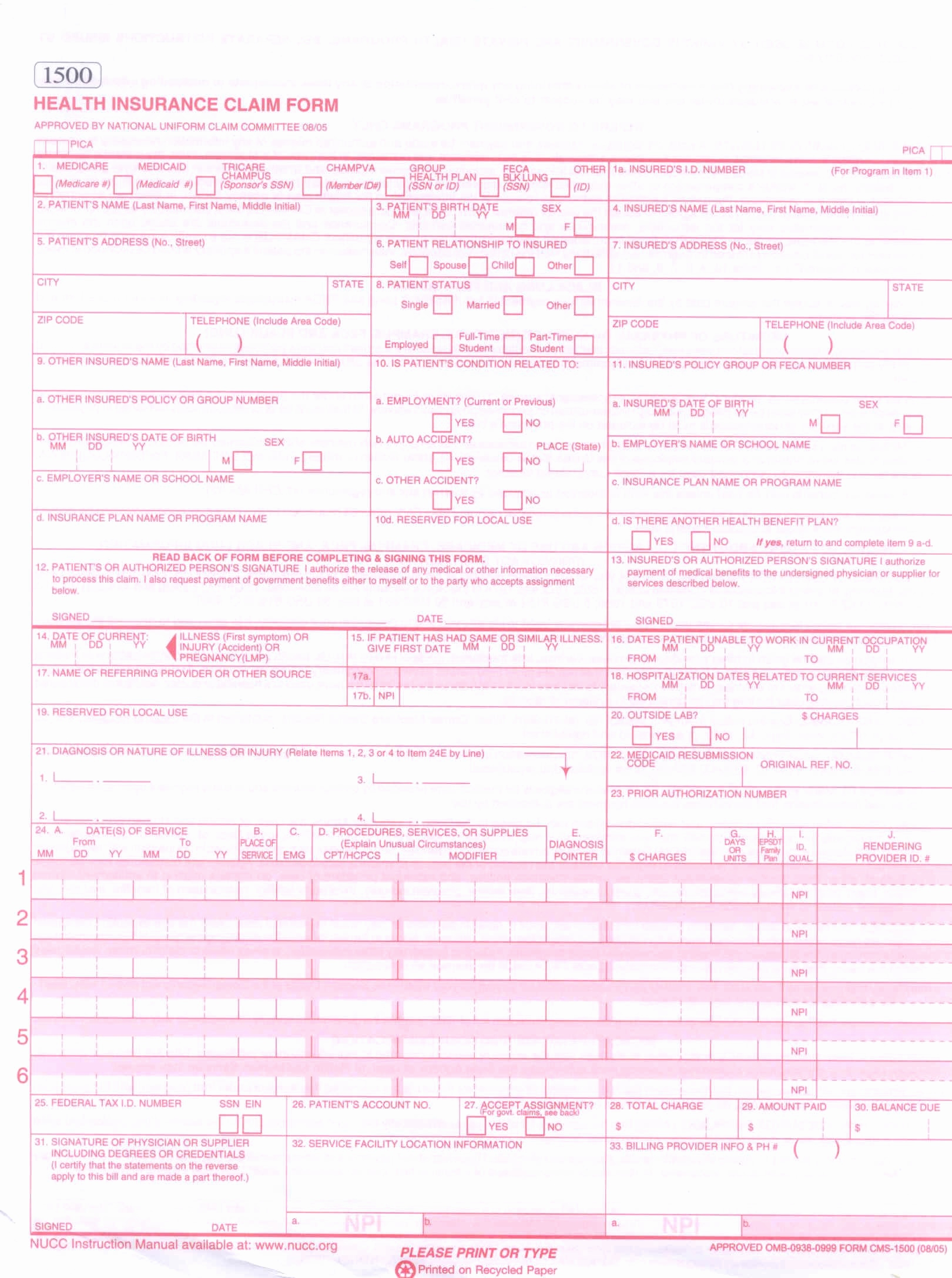 Cms 1500 Form Template Fresh E Part Cms 1500 Continuous Claim Form Stockchecks Wcms1500 Pantacake