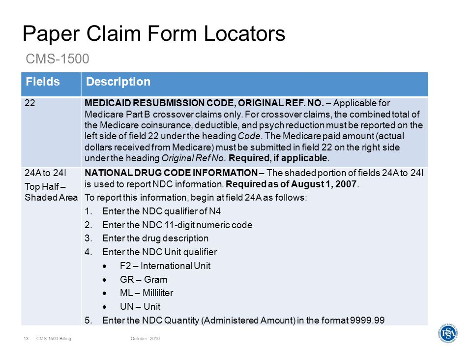 Cms 1500 Claim Form Resubmission Codes