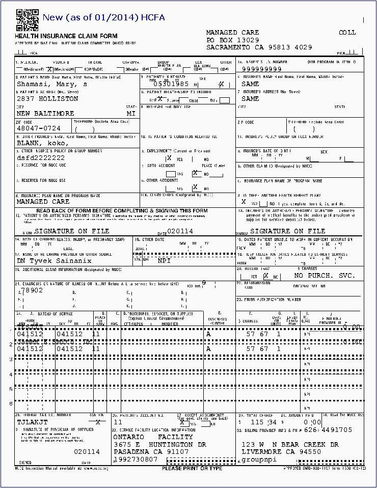 Cms 1500 Form Simple Cms 1500 Form Printable Awesome Sample Billing Insurance Forms