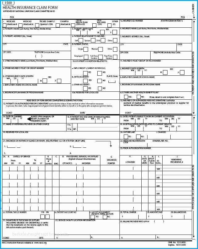Cms 1500 Version 02 12 Template Simplex Cms 1500 Form Printable