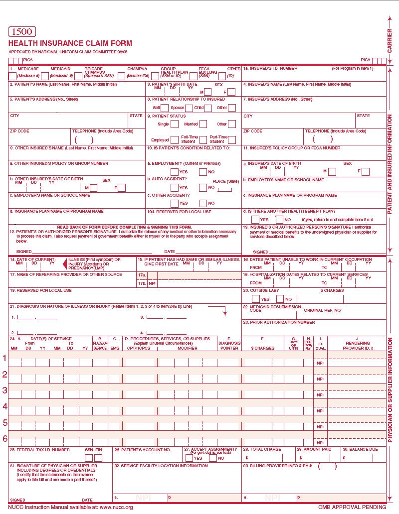 Cms Hcfa 1500 Form 2014