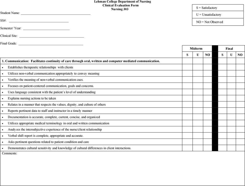 Cna Clinical Evaluation Form