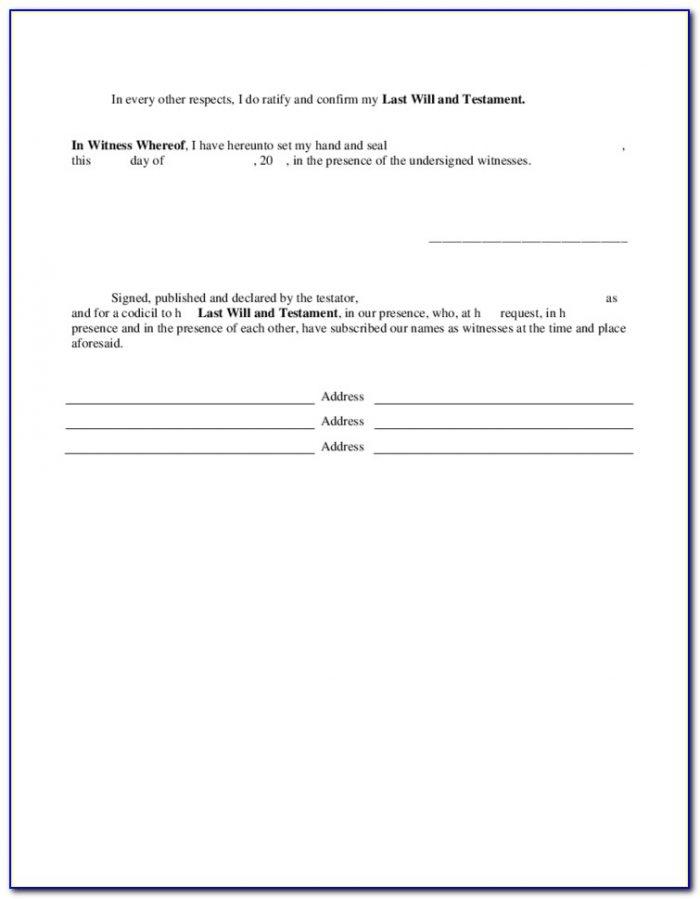 Codicil Form Legalzoom