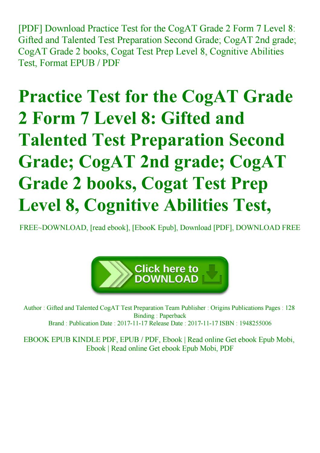 Cogat Form 7 Level 11 Pdf