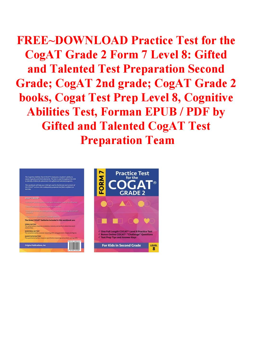 Cogat Form 7 Practice Test Grade 2