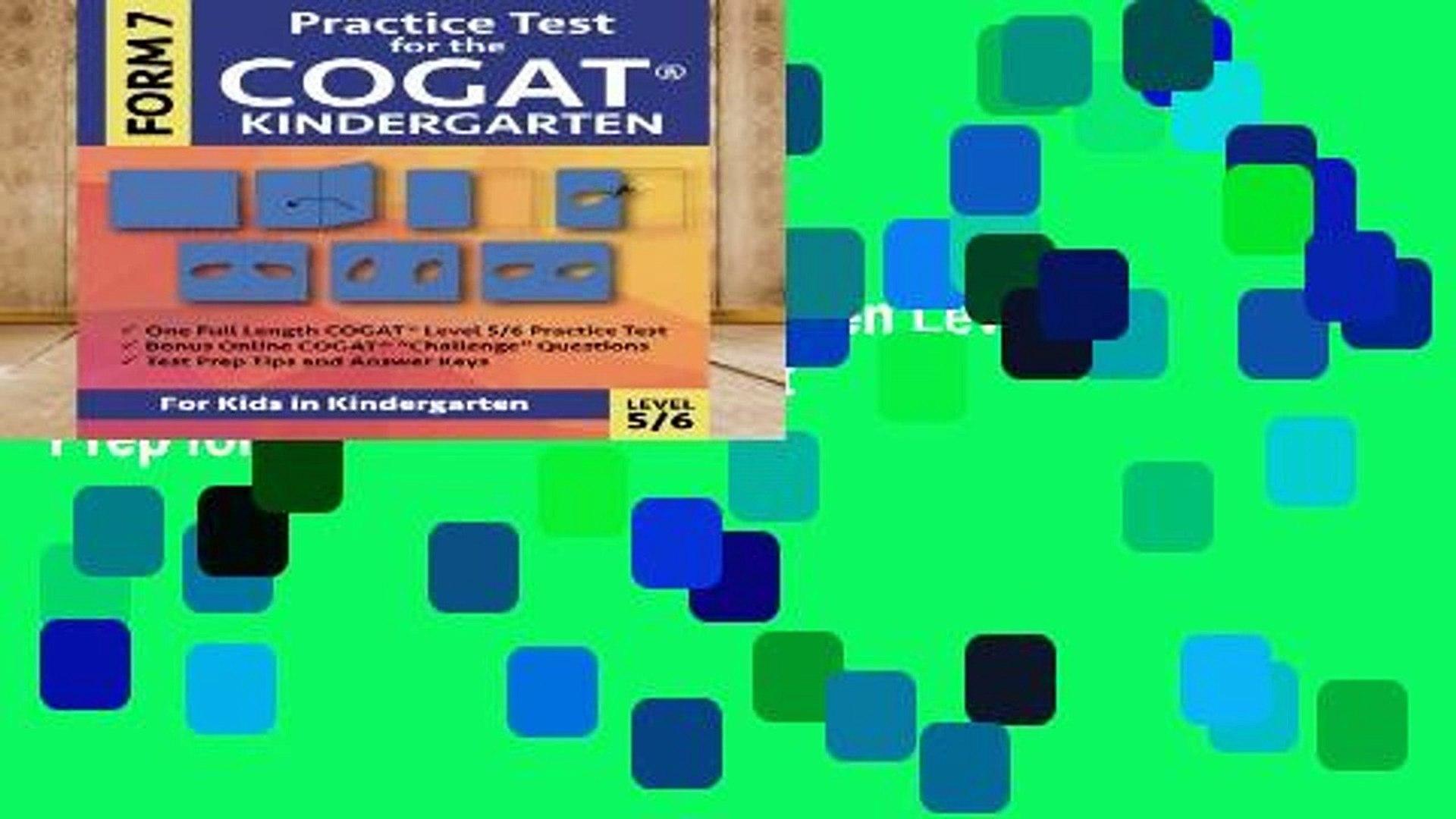 Cogat Form 7 Practice Test Level 56 (kindergarten)