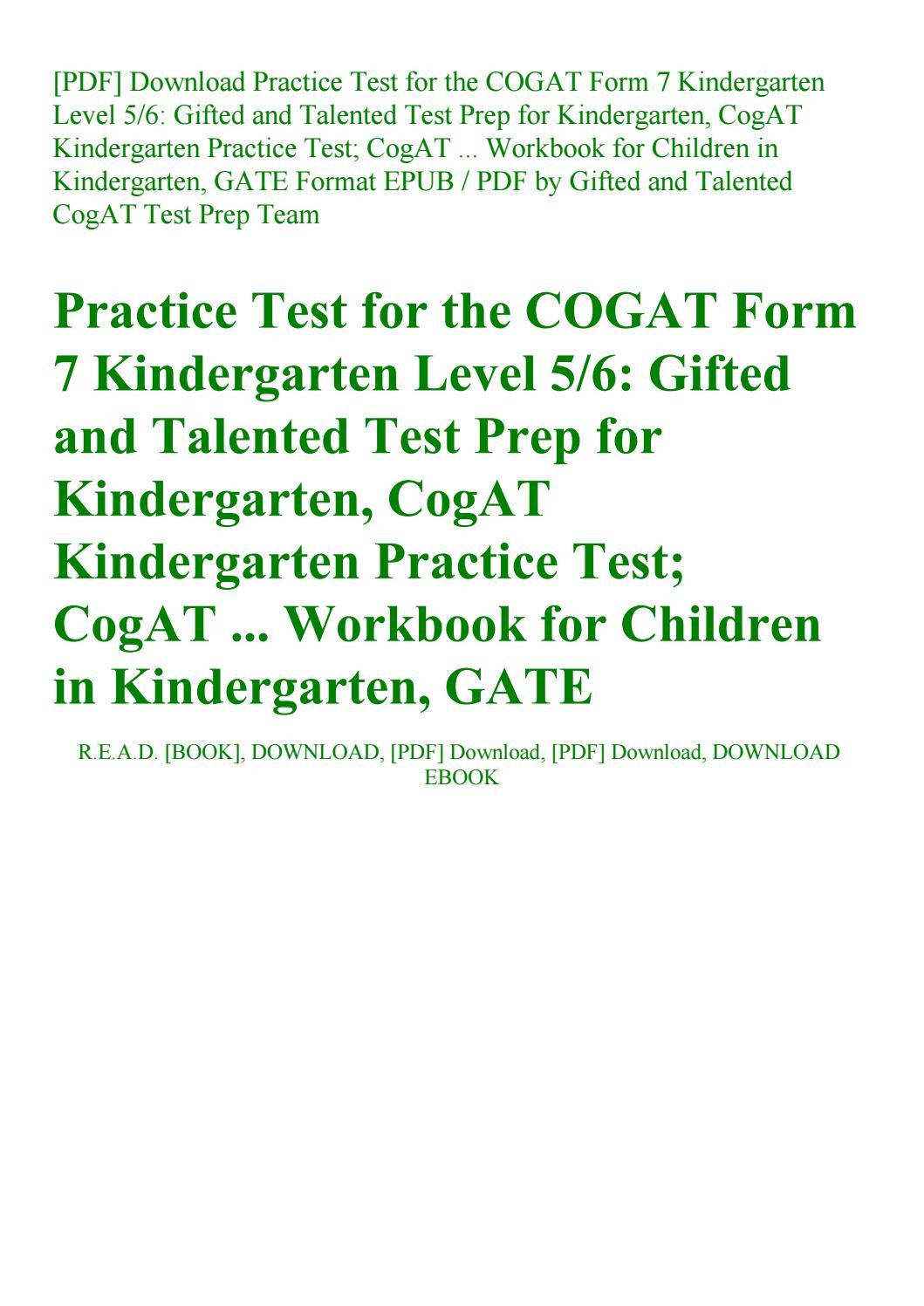 Cogat Form 7 Practice Test Pdf