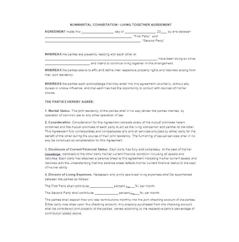 Cohabitation Agreement Form Canada