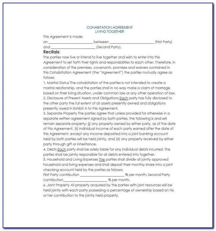 Cohabitation Agreement Forms Free Download