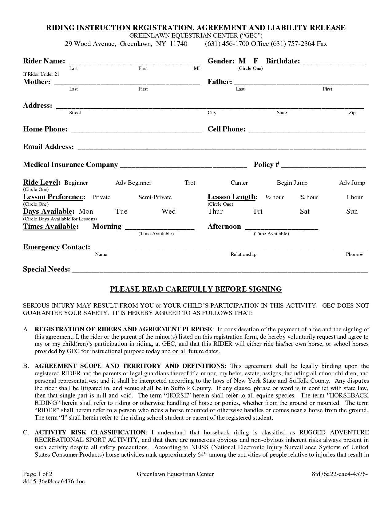 Colorado Equine Liability Release Form