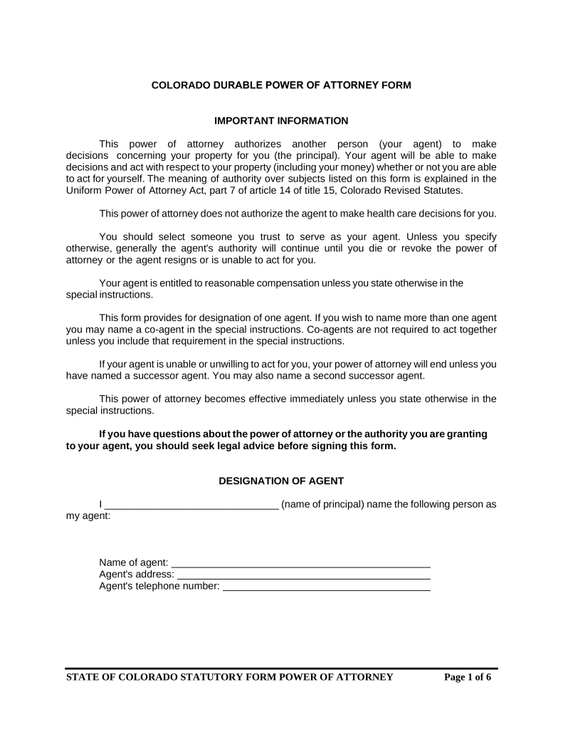 Free Colorado Power Of Attorney Forms Word | Pdf | Eforms – Free For Power Of Attorney Form Colorado