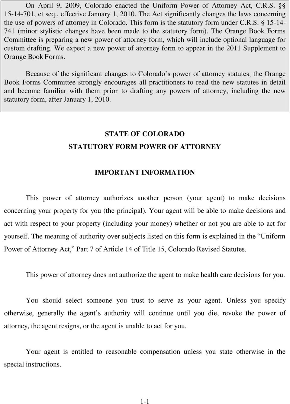 Colorado State Durable Power Of Attorney Form