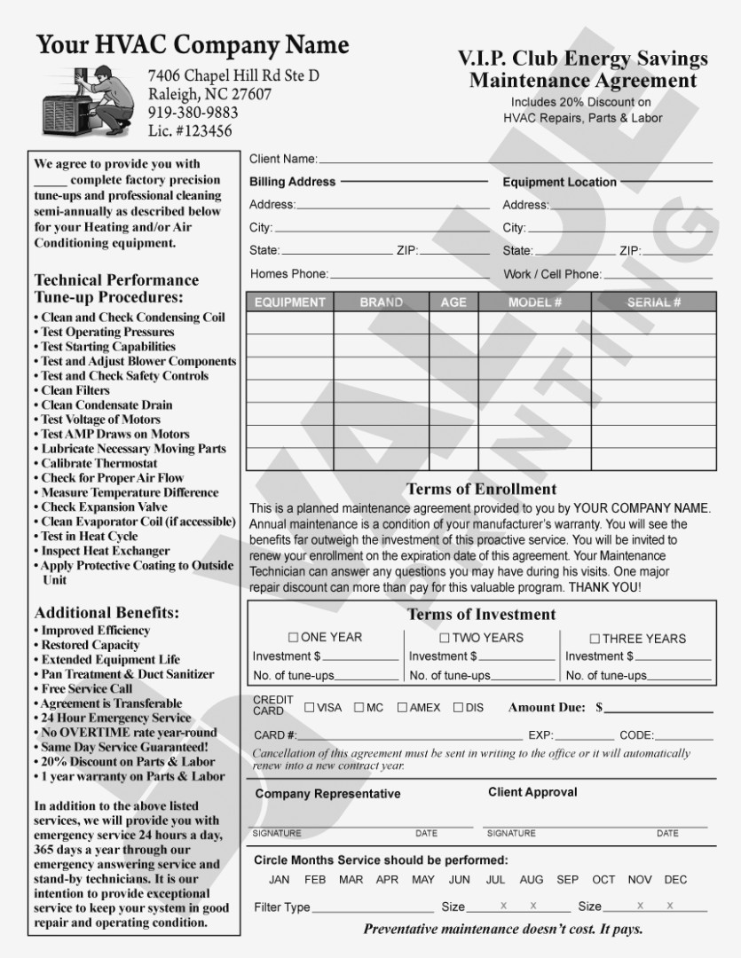 Commercial Hvac Maintenance Agreement Template