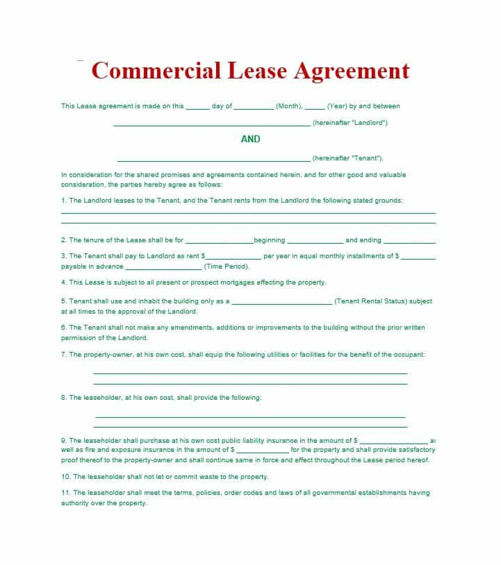 Commercial Lease Agreement Form Free Download