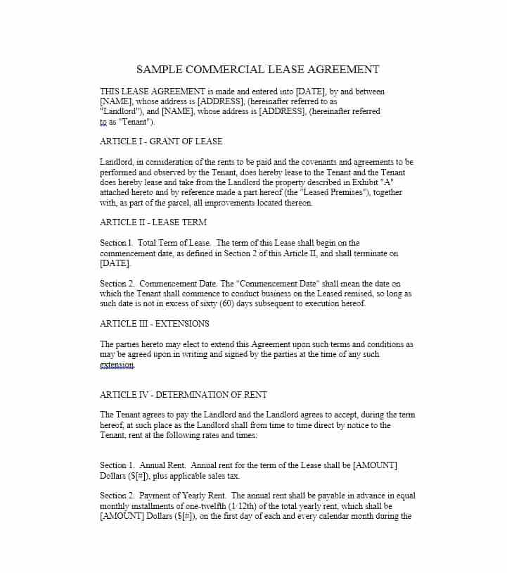 Commercial Lease Agreement Sample Free