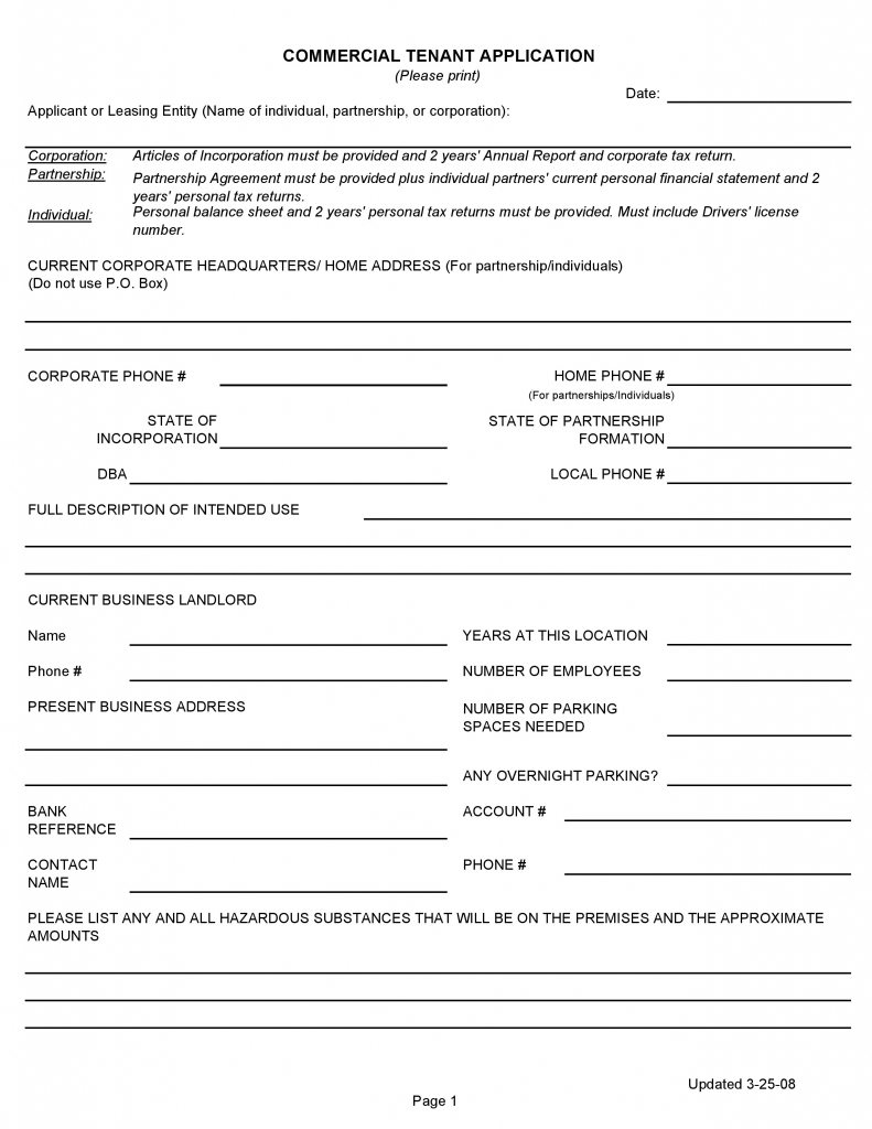 Commercial Rental Application Form California