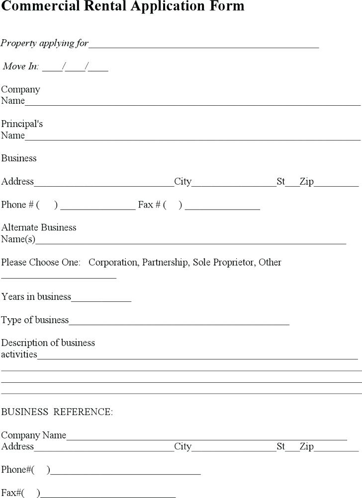 Commercial Rental Application Form Template