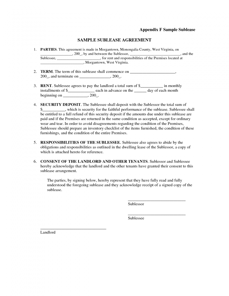 Commercial Sublease Agreement Form Free