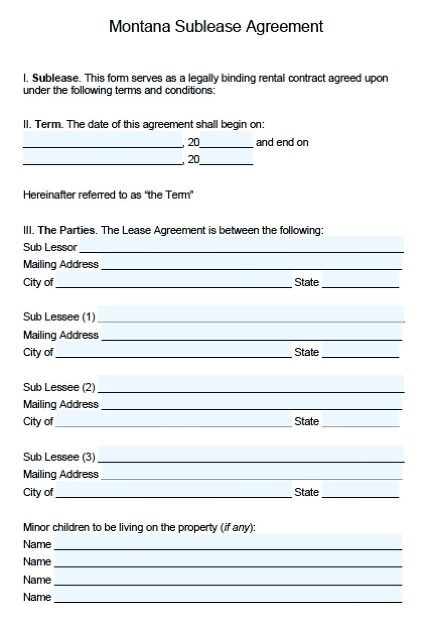 Commercial Sublease Agreement Format