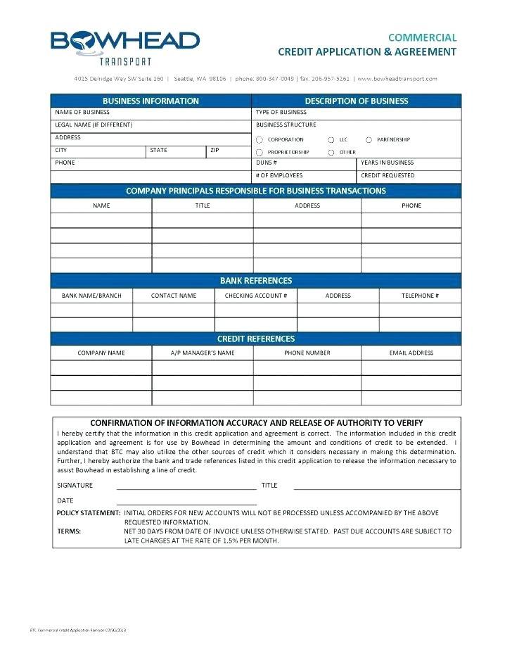 Commercial Tenant Credit Application Form